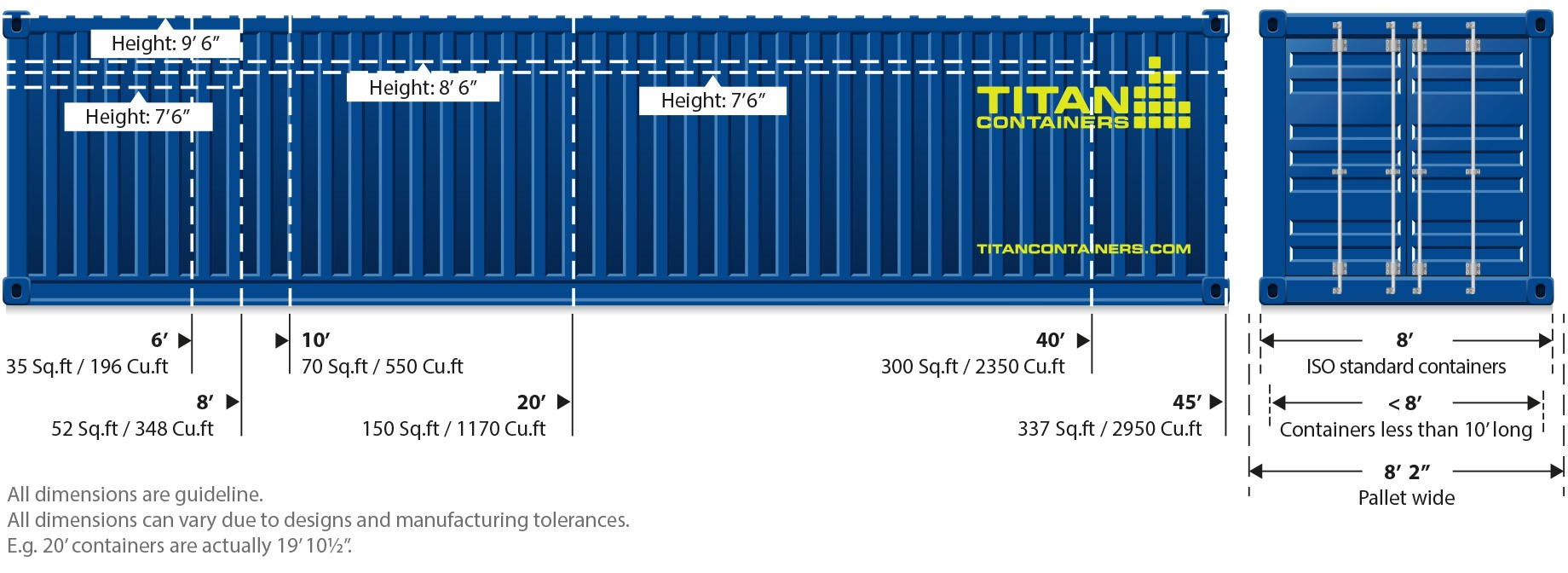 CONTAINER DIMENSIONS GUIDE TITAN CONTAINERS 6 8 10 20 40 FOOT