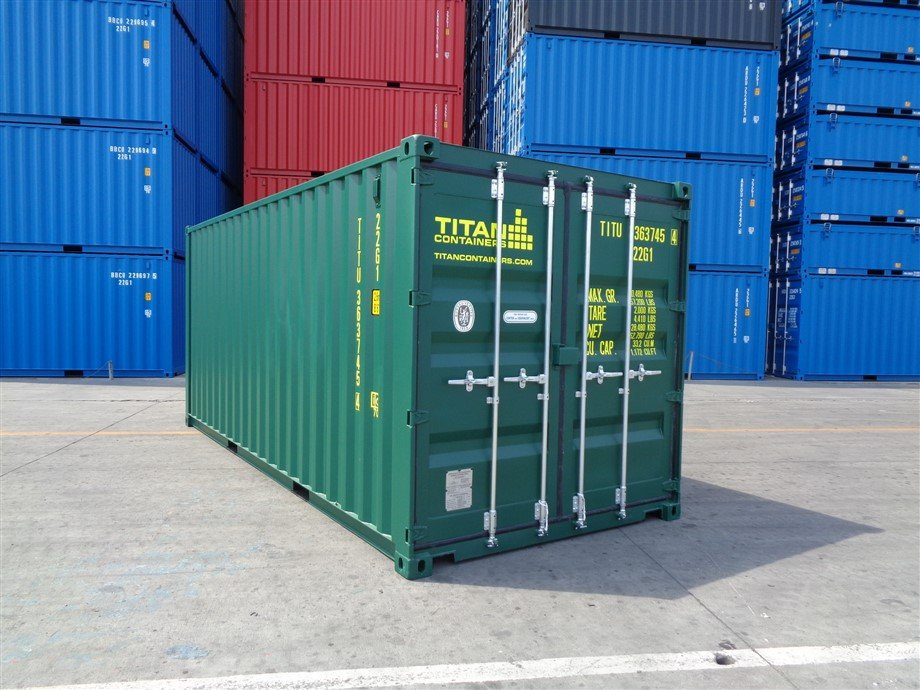20 foot new green shipping container