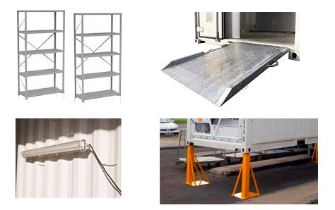 CONTAINER ACCESSORIES ramps internal light kits shelving and support legs