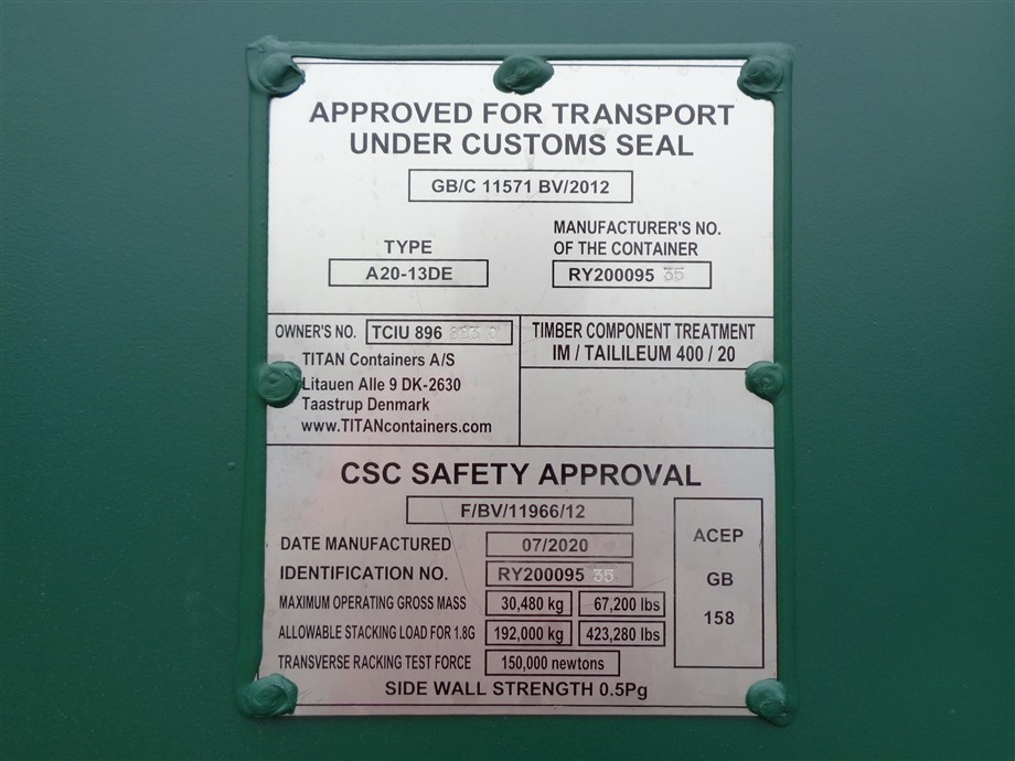 csc plate titan containers shipping storage